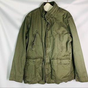 Gap olive green military jacket men's xl front zip